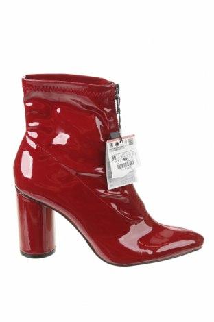Γυναικεία μποτάκια Zara, Μέγεθος 39, Χρώμα Κόκκινο, Δερματίνη, Τιμή 25,23€