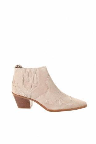 Γυναικεία μποτάκια Zara, Μέγεθος 37, Χρώμα  Μπέζ, Γνήσιο δέρμα, Τιμή 36,57€