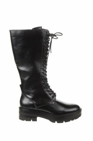 Γυναικείες μπότες Zara, Μέγεθος 38, Χρώμα Μαύρο, Δερματίνη, Τιμή 30,54€