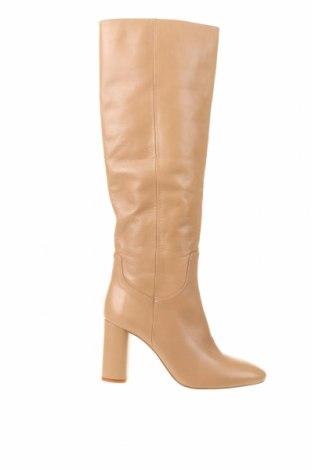 Γυναικείες μπότες Zara, Μέγεθος 37, Χρώμα  Μπέζ, Γνήσιο δέρμα, Τιμή 76,94€