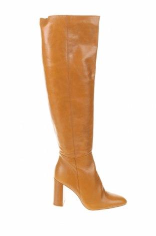 Дамски ботуши Zara, Размер 40, Цвят Кафяв, Естествена кожа, Цена 139,30лв.