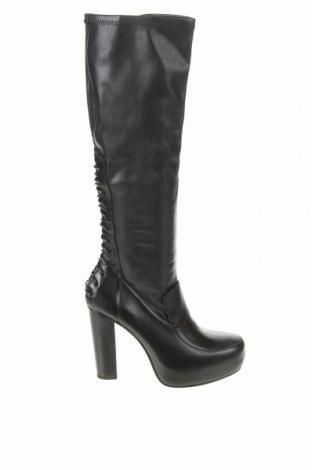 Дамски ботуши Zara, Размер 39, Цвят Черен, Еко кожа, естествена кожа, Цена 111,30лв.