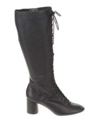 Γυναικείες μπότες Zara, Μέγεθος 40, Χρώμα Μαύρο, Γνήσιο δέρμα, Τιμή 73,07€