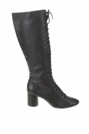Дамски ботуши Zara, Размер 39, Цвят Черен, Естествена кожа, Цена 85,05лв.