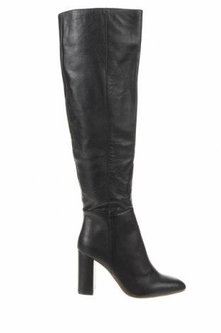Дамски ботуши Zara, Размер 37, Цвят Черен, Естествена кожа, Цена 126,75лв.