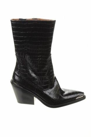 Дамски ботуши Zara, Размер 37, Цвят Черен, Естествена кожа, Цена 56,62лв.
