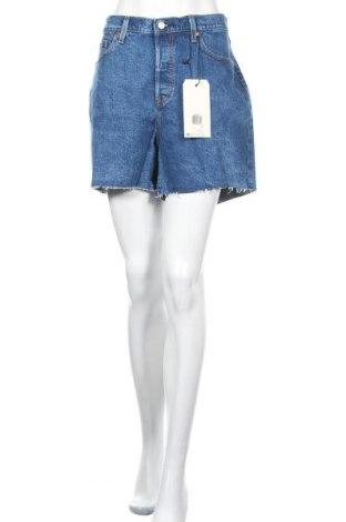 Pantaloni scurți de femei Levi's, Mărime XL, Culoare Albastru, 99% bumbac, 1% elastan, Preț 140,52 Lei