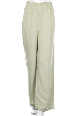 Γυναικείο παντελόνι H&M, Μέγεθος L, Χρώμα Πράσινο, 55% λινό, 45% βισκόζη, Τιμή 20,42€
