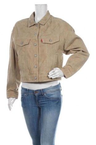 Дамско кожено яке Levi's, Размер M, Цвят Бежов, Естествен велур, Цена 321,75лв.