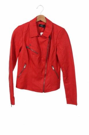 Дамско кожено яке ONLY, Размер XS, Цвят Червен, Еко кожа, Цена 54,00лв.