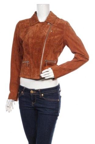 Дамско кожено яке ONLY, Размер M, Цвят Кафяв, Естествен велур, Цена 119,07лв.