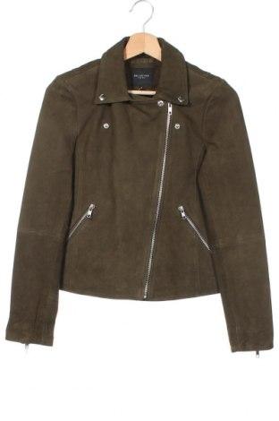 Дамско кожено яке Selected Femme, Размер XS, Цвят Зелен, Естествен велур, Цена 200,97лв.
