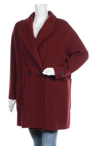 Дамско палто Cortefiel, Размер L, Цвят Червен, 65% вълна, 35% полиамид, Цена 139,30лв.