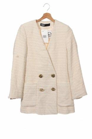 Palton de femei Zara, Mărime XS, Culoare Ecru, Acetat, Preț 441,62 Lei