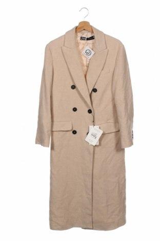 Palton de femei Zara, Mărime XS, Culoare Bej, 69% lână, 26% poliamidă, 5% alte țesuturi, Preț 466,28 Lei