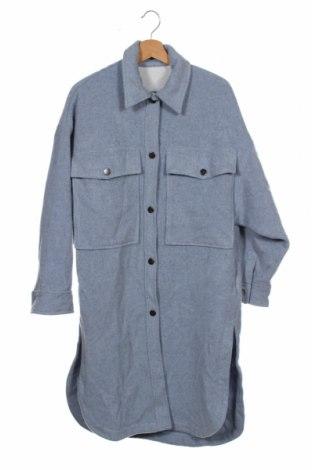Palton de femei Zara, Mărime XS, Culoare Albastru, 67% lână, 18% poliester, 10% poliamidă, 5% alte țesuturi, Preț 350,33 Lei