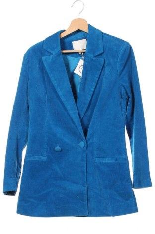 Дамско сако Aeryne, Размер XS, Цвят Син, 98% памук, 2% еластан, Цена 186,75лв.