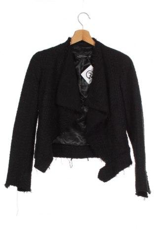 Γυναικείο σακάκι Zara, Μέγεθος XS, Χρώμα Μαύρο, 35% βαμβάκι, 31%ακρυλικό, 29% πολυεστέρας, 4% βισκόζη, 1% άλλα υφάσματα, Τιμή 24,68€