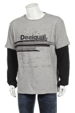 Bluză de bărbați Desigual, Mărime XXL, Culoare Gri, 90% bumbac, 10% poliester, Preț 150,99 Lei