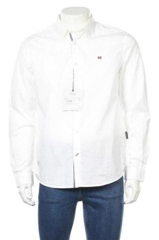 Мъжка риза Napapijri, Размер L, Цвят Бял, Памук, Цена 111,75лв.