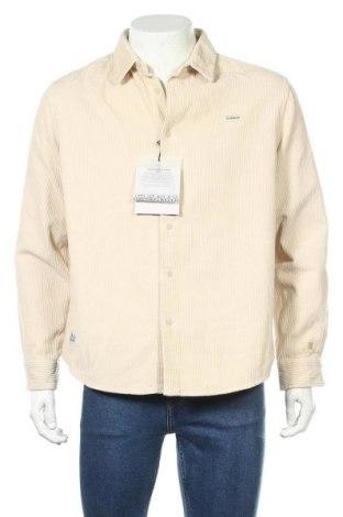 Мъжка риза Napapijri, Размер L, Цвят Екрю, Памук, Цена 111,75лв.