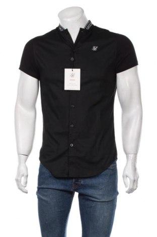 Мъжка риза SikSilk, Размер S, Цвят Черен, 97% памук, 3% еластан, Цена 23,60лв.