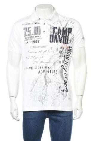 Мъжка тениска Camp David, Размер L, Цвят Бял, 95% памук, 5% еластан, Цена 66,75лв.