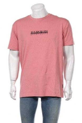 Мъжка тениска Napapijri, Размер L, Цвят Розов, Памук, Цена 43,45лв.