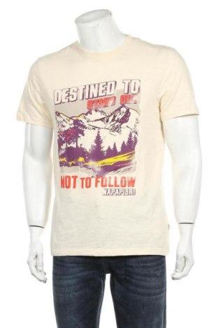 Мъжка тениска Napapijri, Размер L, Цвят Екрю, Памук, Цена 48,95лв.