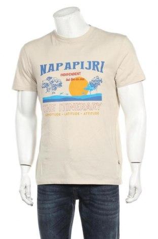 Мъжка тениска Napapijri, Размер L, Цвят Бежов, Памук, Цена 44,50лв.