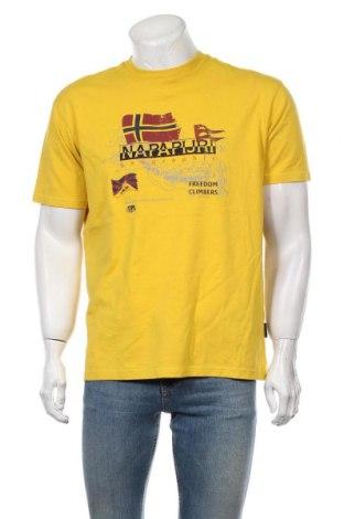 Мъжка тениска Napapijri, Размер L, Цвят Жълт, Памук, Цена 60,52лв.