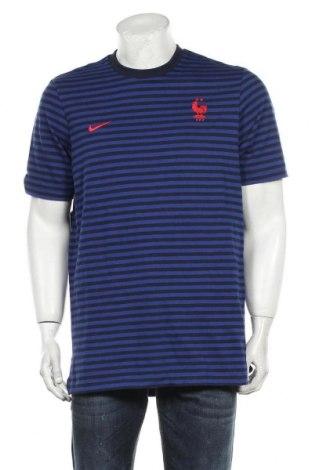 Мъжка тениска Nike, Размер M, Цвят Син, 97% памук, 3% еластан, Цена 51,75лв.