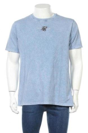Мъжка тениска SikSilk, Размер M, Цвят Син, Памук, Цена 29,40лв.