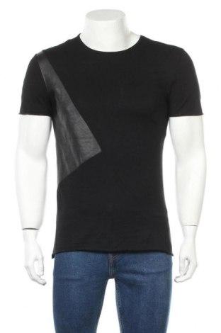 Мъжка тениска Zara Man, Размер M, Цвят Черен, Еко кожа, други нишки, Цена 19,50лв.