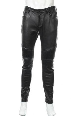 Мъжки кожен панталон Zara Man, Размер L, Цвят Черен, Еко кожа, Цена 29,25лв.