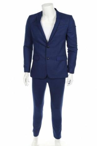 Мъжки костюм Zara Man, Размер M, Цвят Син, 64% полиестер, 35% вискоза, 1% еластан, Цена 69,00лв.