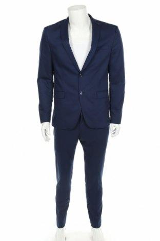 Мъжки костюм Zara Man, Размер M, Цвят Син, 55% вискоза, 42% полиестер, 3% еластан, Цена 70,50лв.