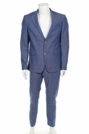 Мъжки костюм Zara Man, Размер M, Цвят Син, 50% полиестер, 41% лен, 9% вискоза, Цена 69,00лв.