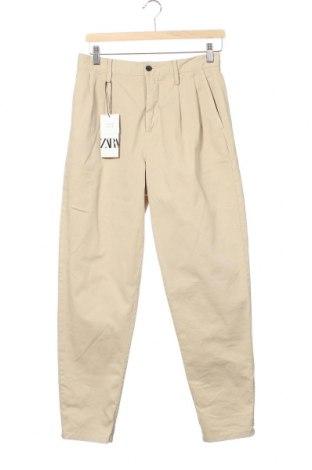 Мъжки панталон Zara, Размер S, Цвят Бежов, 97% памук, 3% еластан, Цена 51,75лв.