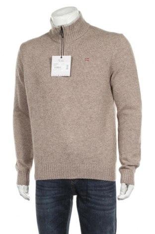 Ανδρικό πουλόβερ Napapijri, Μέγεθος L, Χρώμα  Μπέζ, 65% μαλλί, 35% πολυαμίδη, Τιμή 102,58€