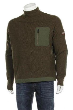 Ανδρικό πουλόβερ Napapijri, Μέγεθος L, Χρώμα Πράσινο, Μαλλί, Τιμή 88,53€