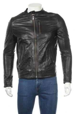 Мъжко кожено яке Jack & Jones, Размер S, Цвят Черен, Естествена кожа, Цена 85,31лв.