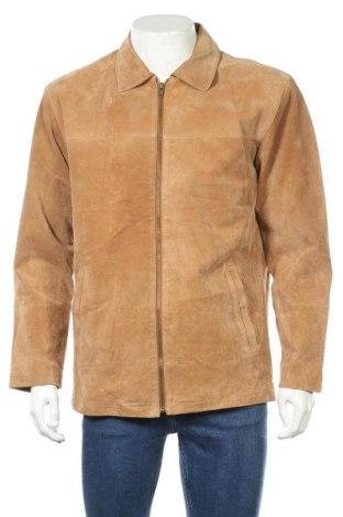 Мъжко кожено яке Man's World, Размер M, Цвят Бежов, Естествен велур, Цена 22,68лв.