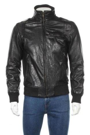 Мъжко кожено яке Zara Man, Размер L, Цвят Черен, Естествена кожа, Цена 77,49лв.