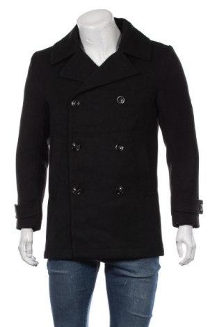 Мъжко палто H&M, Размер M, Цвят Черен, 77% полиестер, 23% вискоза, Цена 57,75лв.