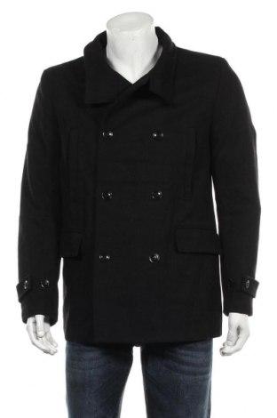 Мъжко палто H&M, Размер M, Цвят Черен, 63% вълна, 26% полиестер, 6% други тъкани, 5% акрил, Цена 22,05лв.