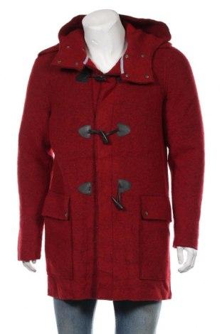 Мъжко палто Zara Man, Размер L, Цвят Червен, 72% вълна, 20% полиестер, Цена 73,19лв.