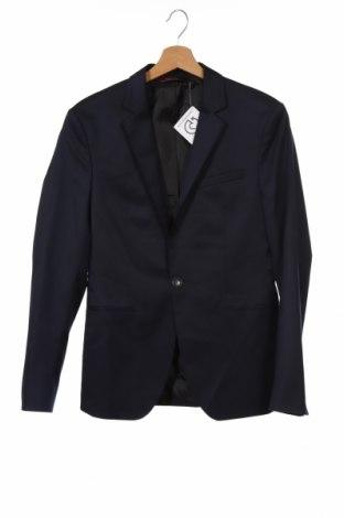 Мъжко сако Zara Man, Размер S, Цвят Син, 71% полиестер, 26% вискоза, 3% еластан, Цена 41,90лв.