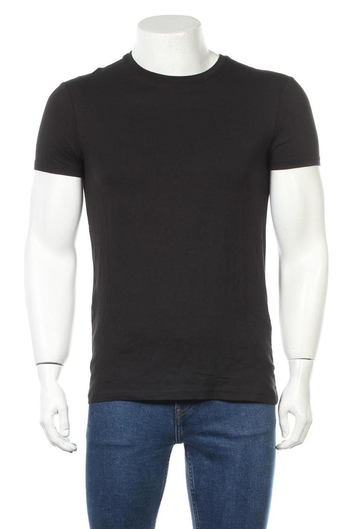 Мъжка тениска Pier One, Размер S, Цвят Черен, Памук, Цена 16,82лв.