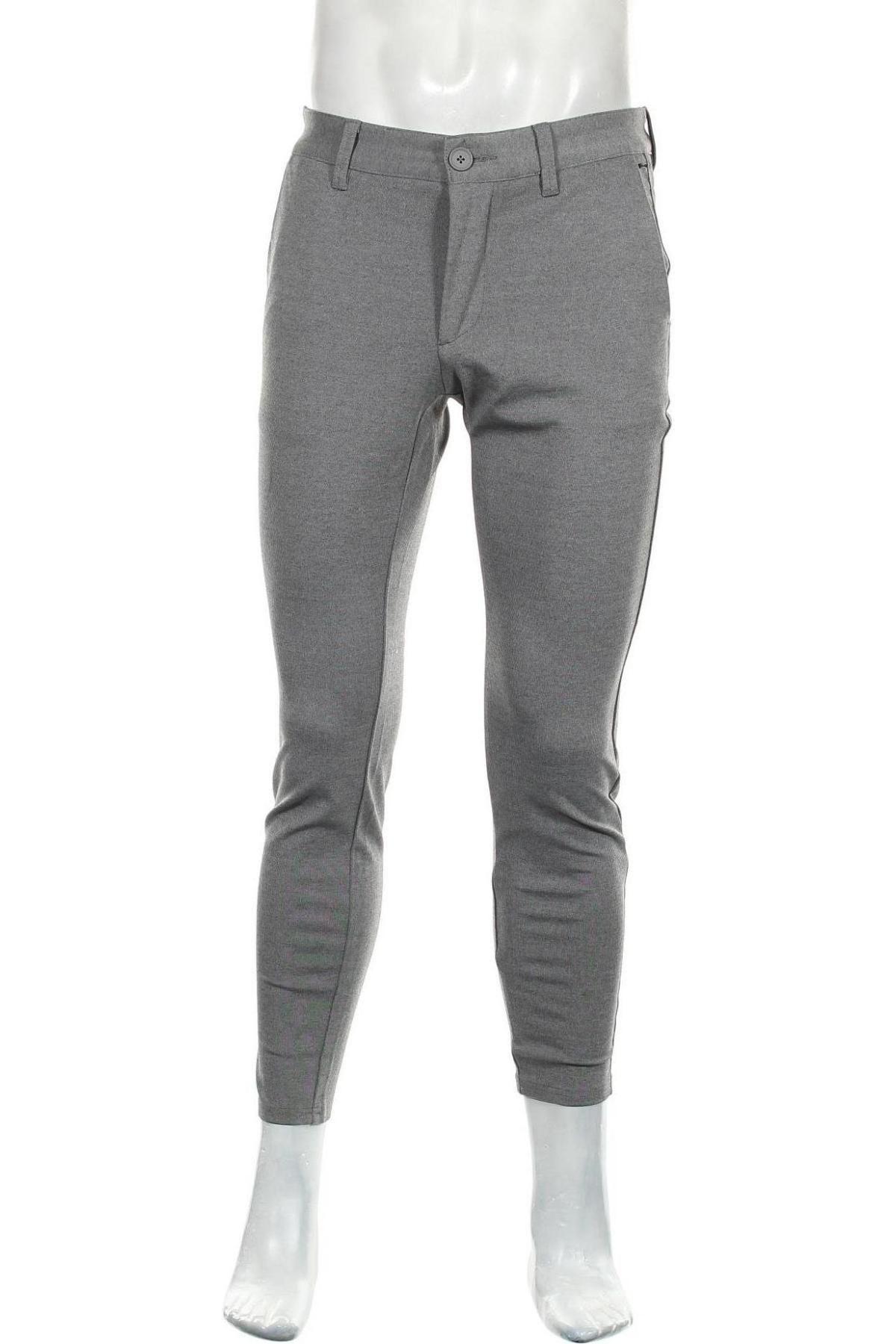 Мъжки панталон Only & Sons, Размер S, Цвят Сив, 64% вискоза, 31% полиестер, 5% еластан, Цена 26,55лв.